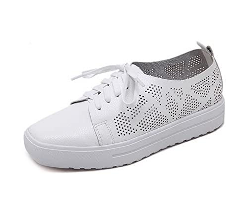 Womens Lace-Up Hollow Out Solid Square-Toe Microfiber Flats Shoes