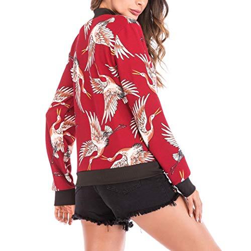 Veste Manteau Bomber de Oiseau Femme Mode Rouge Cardigan Baseball Chic Bringbring Chemisier Imprimer Zipper 05gZ8xZ