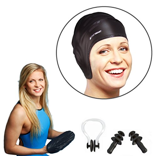 start-smart-silicone-swim-cap-for-long-hair-plus-nose-clip-and-ear-plug-set