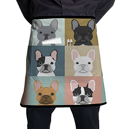 Vicrunning French Bulldog Puppies Mosaic Aprons Bib For Mens Womens Paint Lace Adjustable Adult Half Black Kitchen Waiter Aprons With ()