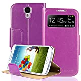 S4 Case, SAVFY Kickstand Feature S4 Wallet Case, Luxury PU Leather Wallet Case Flip Cover Built-in Card Slots Stand For Samsung Galaxy S4, (Purple)