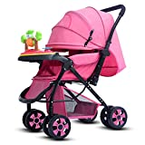 TYX Crossdresser Baby Strollers Can Sit and Fold High Landscape Widened Long Baby Stroller Shock Absorber Four Seasons Universal,B