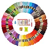#6: 150 Embroidery Thread Skeins with 16 Needles – Friendship Bracelet String - Cross Stitch Threads - Perfect Embroidery Floss Kit for Beginners or kids crafts