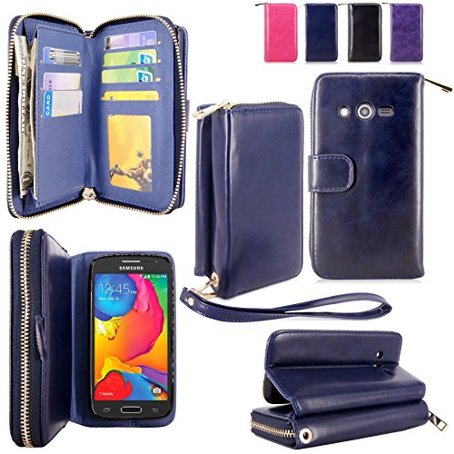 For Samsung Galaxy Avant Case - Cellularvilla PU Leather Flip Wallet Bag Pouch Case with Credit Card Slots Pockets Cover For Samsung Galaxy Avant G386 (T-Mobile) (Midnight Blue)