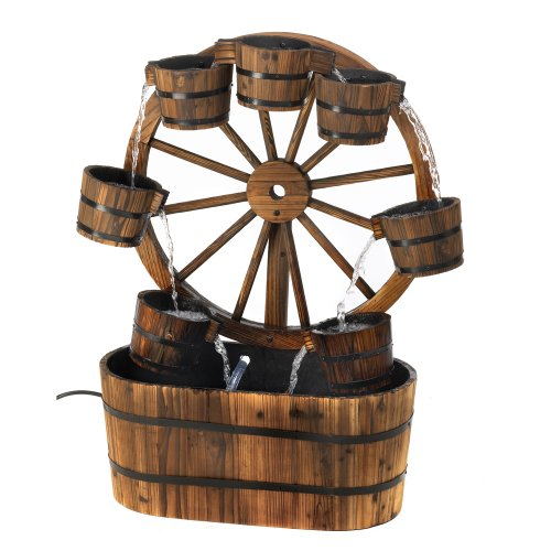 Casual All-Wood Old-Fashioned Wagon Wheel Outdoor Yard Garden Decor Water Pump Cascading Fountain
