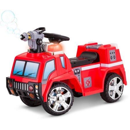 Kid Trax 6V Durable, Fun.Colorful, On-board Bubble Gun Fire Rescue Quad Ride-On (On Ride Truck Rescue Fire)