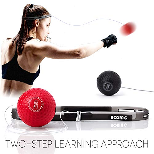 TEKXYZ Boxing Reflex Ball, 2 Difficulty Level Boxing Ball with Headband, Softer Than Tennis Ball, Perfect for Reaction, Agility, Punching Speed, Fight Skill and Hand Eye Coordination ()