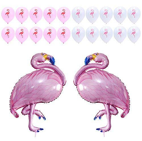 Pink Flamingo Balloons Decor - Flamingo Birthday Party Supplies Decorations for Kids, Girls - Flamingo Baby Shower Decorations - 22 Pack, 2 Large Foil Mylar Balloons, 20 10 Latex Balloons