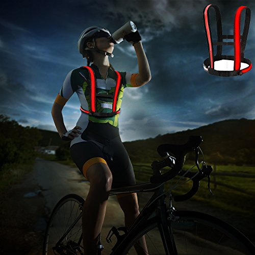 Lazy ants Bicycle Accessories Three LED Modes,Reflective Vest Waterproof,Biking Led vest(Red) by Lazy ants