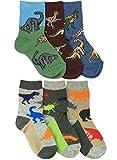 Jefferies Socks Boys Dinosaurs/Animals Pattern Crew Socks 6 Pair Pack (S - USA Shoe 9-1 - Age 3-7 Years, Multi)