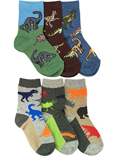 Jefferies Socks Boys Dinosaurs/Animals Pattern Crew Socks 6 Pair Pack