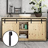 Hahaemall Interior Black 8FT Bending Mini Sliding Barn Door Hardware Hanging Wine Cabinet Storage and TV Stand Track Roller Kit (8FT Double Kit)
