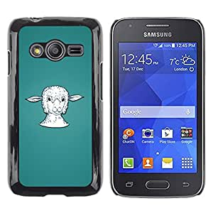 QCASE / Samsung Galaxy Ace 4 G313 SM-G313F / cordero cabeza retrato agricultura animal blanco / Delgado Negro Plástico caso cubierta Shell Armor Funda Case Cover