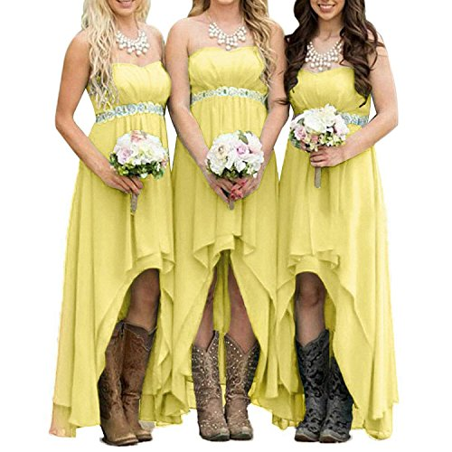 EUMI Chiffon Bridesmaid Dresses High Low Strapless Country Bridal Wedding Party Gowns, Yellow 10