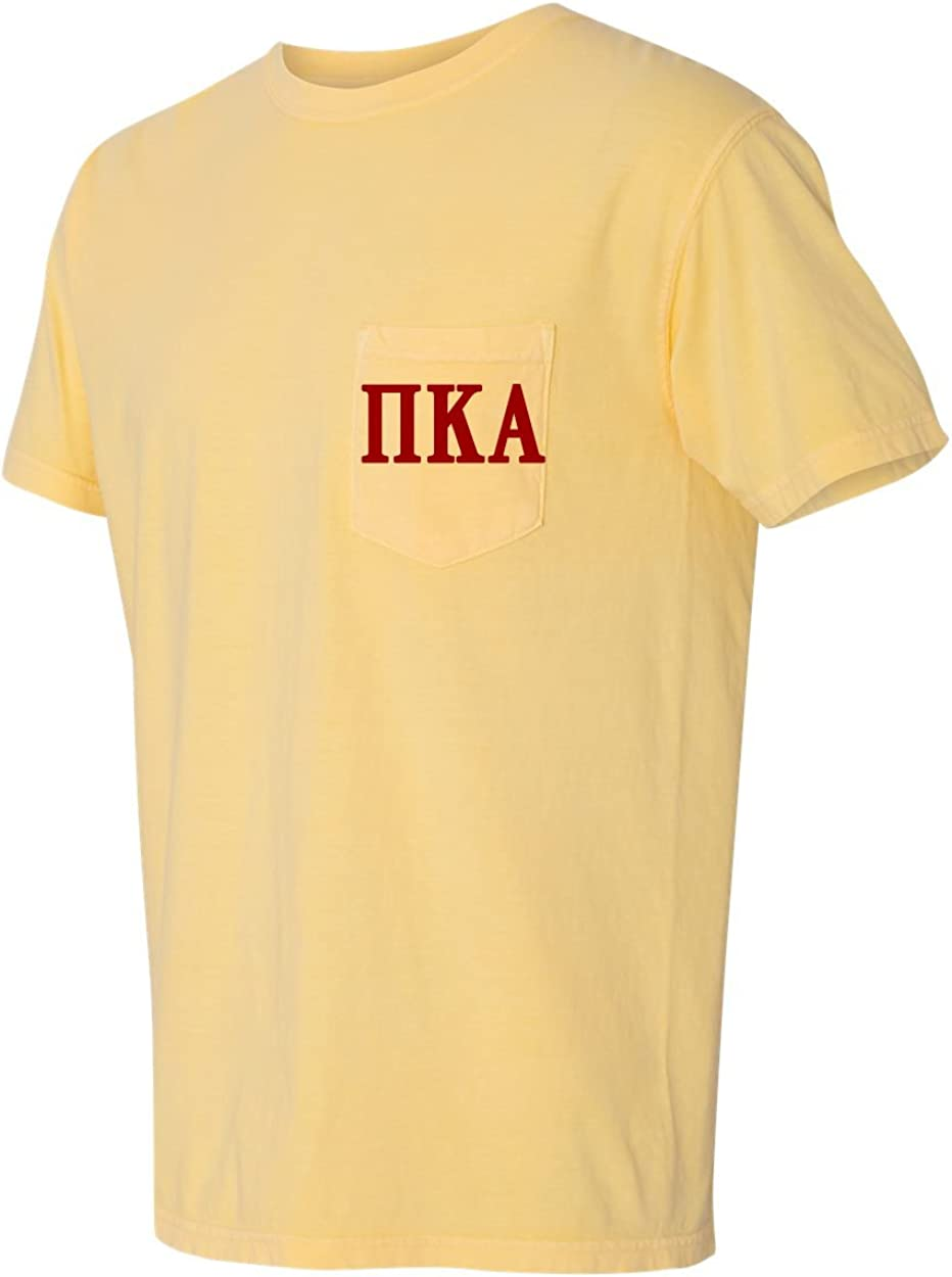 Mega/_Greek Mens Pi Kappa Phi Comfort Color Pocket T-Shirt Crimson X-Large