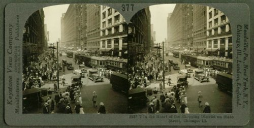 State St Shopping District Chicago IL stereoview - State St Il Chicago