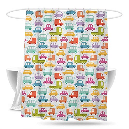 Polyester Shower Curtain Cars Lovely Drive on a Sunny Fun Summer Day Theme with Colorful Buses Trucks Exhaust Fumes Bathroom Curtain Washable Polyester 70in×70in Multicolor