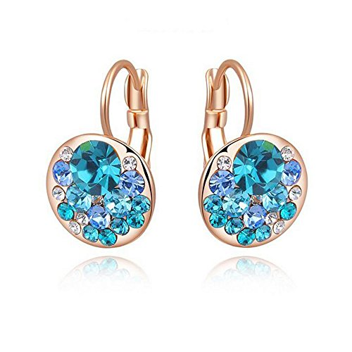 Crystal Flush Mount Gold Plated (Yuriao Jewelry Rose Gold Plated Fashion Crystal Diamond Earrings£¨blue£)