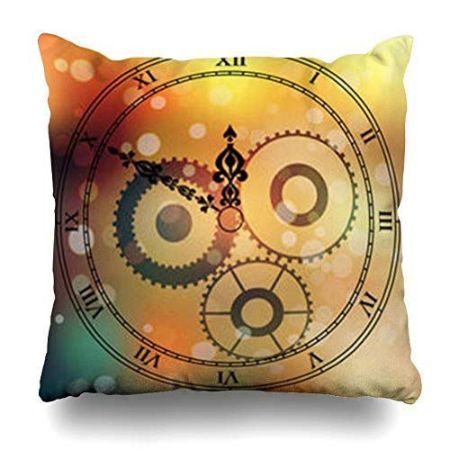 - ArtsDecor Throw Pillow Covers Watch Very High Original Antique Clock Face Roman Daylight Numbers Vintage Pointer Blured Boke Home Decor Cushion Square Size 18