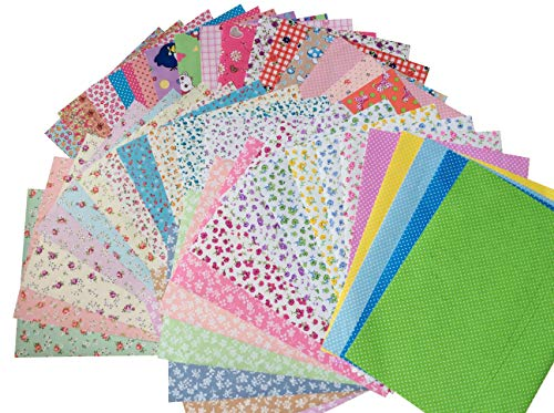 longshine-us 10PCS A4 Premium Sticky Back Printing Self-Adhesive Non-Woven Felt Quilting Fabric Sewing Scrapbooking Sticker for DIY Craft (A4) (Felt Fabric Printed)
