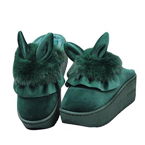 Cybling Warm Schattig Huis Slippers Pluche Indoor Schoenen Anti-slip Dikke Zool Groen