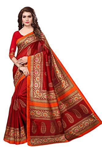 Oomph! Womens Art Silk Printed Sarees  Maroon_kskoyal032red