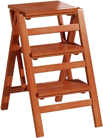 De Madera Plegable Escalera Paso Silla Taburete Multifuncional 3 Pasos Banco de Zapatos Plegable Home Library Escaleras de estanteria Capacidad de 150kg (Color: Vino Tinto): Amazon.es: Hogar