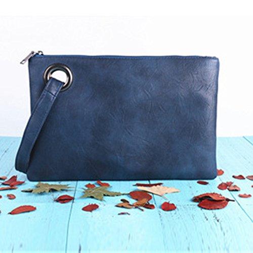 Blue PU Large Zipper Dark Shoulder Capacity Clutch Bag Wallet Handbag Document Large Envelope Women Purse Leather Pack Messenger T1pPnW5nq