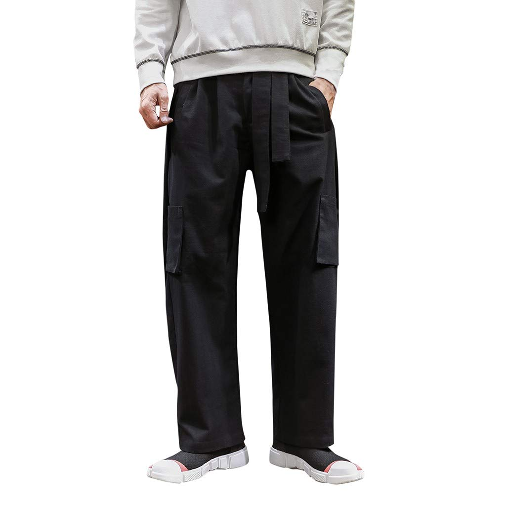 Armfre Bottom Mens Belted Cargo Pants Cotton Linen Relaxed Fit Chinos Stretchy Loose Baggy Pant 4 Pockets Casual Lightweight Hip Hop Sweatpants Long Trousers by Armfre Bottom