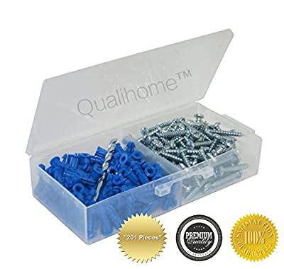 "Ribbed Plastic Anchor Kit with Screws and Masonry Drill Bit (#10-12 x 1"")"