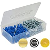 "Qualihome #10-12 x 1"" Blue Ribbed Plastic Anchor Kit with Screws and Masonry Drill Bit (201-Pieces)"