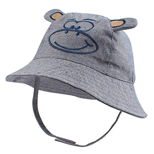 - RAOEXI Sun Protection Hat for Toddler Boys Girls Wide Brim Summer Play Hat Animal Baby Bucket Hat with Chin Strap (Monkey, XL(2-4 T))