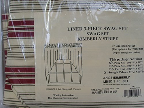 Curtain Drape Lined 3 Piece Swag Set 100