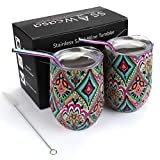 Wine Tumbler with Lid,2 Pack 12oz Stainless Steel Insulated Wine Glasses,Unbreakable Stemless Wine Beverage Cup with Straws and Brush for Champagne,Cocktails,Coffee,Drinks,Party,Travel,Gift (Rhombus)