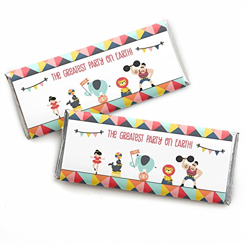 Carnival Circus - Cirque du Soiree - Candy Bar Wrappers Baby Shower or Birthday Party Favors - Set of 24