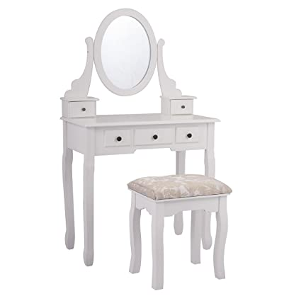 LAZYMOON Wood Makeup Vanity Table Set w/ Oval Mirror and Stool Bedroom  Dressing Table Jewelry Organizer Desk, White