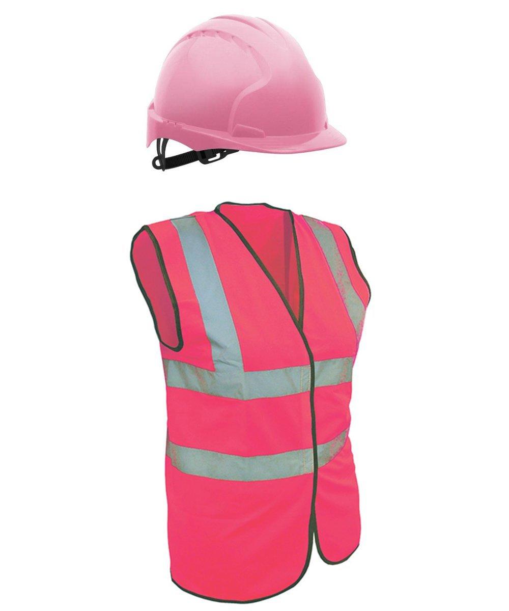 Pink Hard Hat Plus Free Pink Hi Vis Vest (Medium) JSP