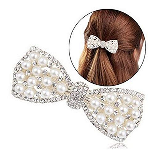 iNoDoZ Pearl Diamond Butterfly Knot Jewelry Ornaments for Women Fashion Head Clip Hair Accessories ()