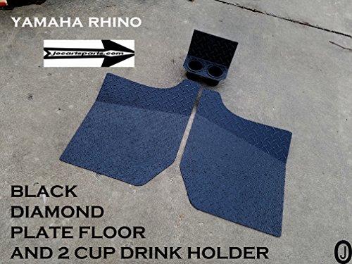 Yamaha Rhino Black Rubber Coated Diamond Plate FLOOR & CUP Holder ()