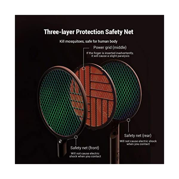 2 in 1 pieghevole elettrico Schiacciamosche 1200mAh - ricaricabile g Zapper Tennis Raet wi Safe To rete della maglia 3 spesavip