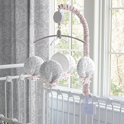 Carousel Pink and Gray Damask Mobile