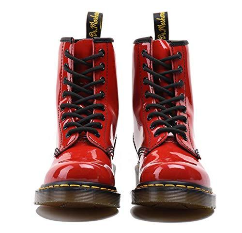 Hoyos Clásico 8 Charol Invierno Altas Caída Del Cuero Mujer Red Martin Negro Brillante Botas De Shiney Para Modelo qv7w7f
