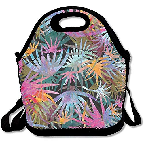 Shicongtai Punk Funky Plam Leaves Insulated Lunch Bag Picnic Lunch -