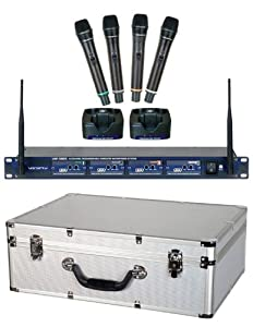 vocopro uhf5805 professional rechargeable 4 channel uhf wireless microphone system. Black Bedroom Furniture Sets. Home Design Ideas