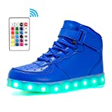 Voovix Kids LED Light up Shoes High-top Flashing Sneakers with Remote Control for Boys and Girls(Blue,US8/CN25)