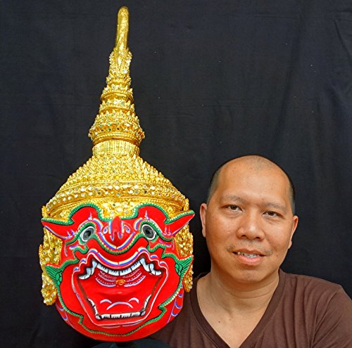 [Thai Handcraft Suriyaph Mask Khon Dance Headdress Ramayana Crown Dancer Costume] (Thai Dance Costume)