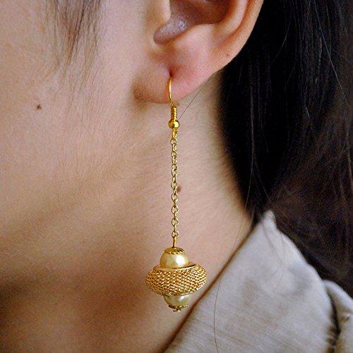 Abhika Creations Women's Golden Sleek Chain with Mesh and Pearl Handmade Earrings