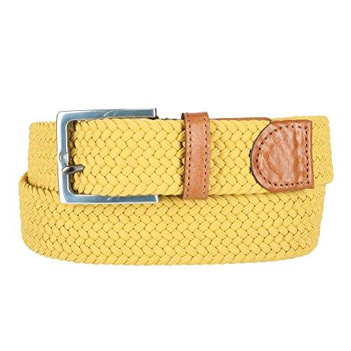 Straps Elastic Woven Satin - The British Belt Company Men's Elba Elastic Stretch Belt, 34, Mustard