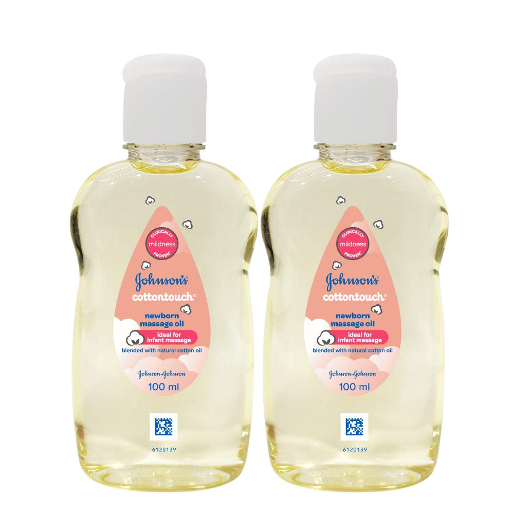 Johnson's Baby Cotton Touch Newborn Baby Massage Oil Combo Offer Pack, 2x100ml, Natural Oil Made with Cotton, for Baby's Delicate Skin, pH Balanced, Hypoallergenic