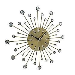 Deco 79 85515 Metal Gold Wall Clock 15 D, Diameter, Black